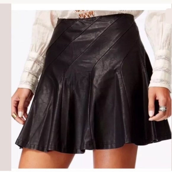 Free People Dresses & Skirts - Free People About A Girl Faux Leather Mini Sz 10